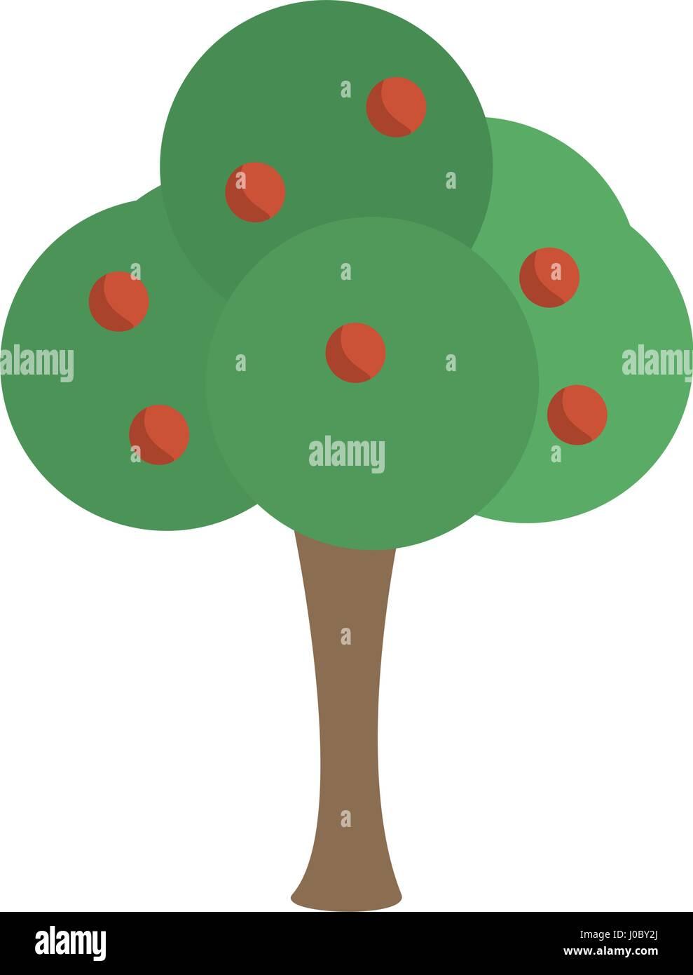 tree apple fruit nature image - Stock Vector