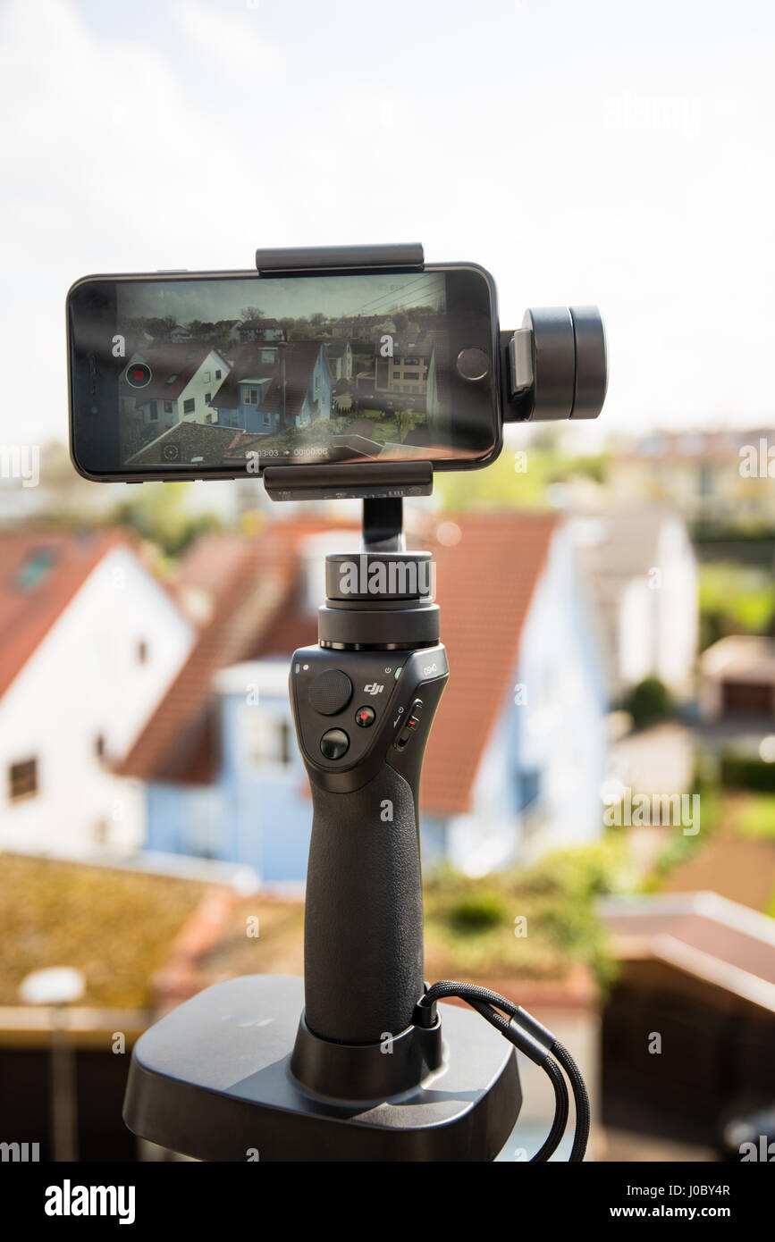 Smartphone video panorama setup - Stock Image