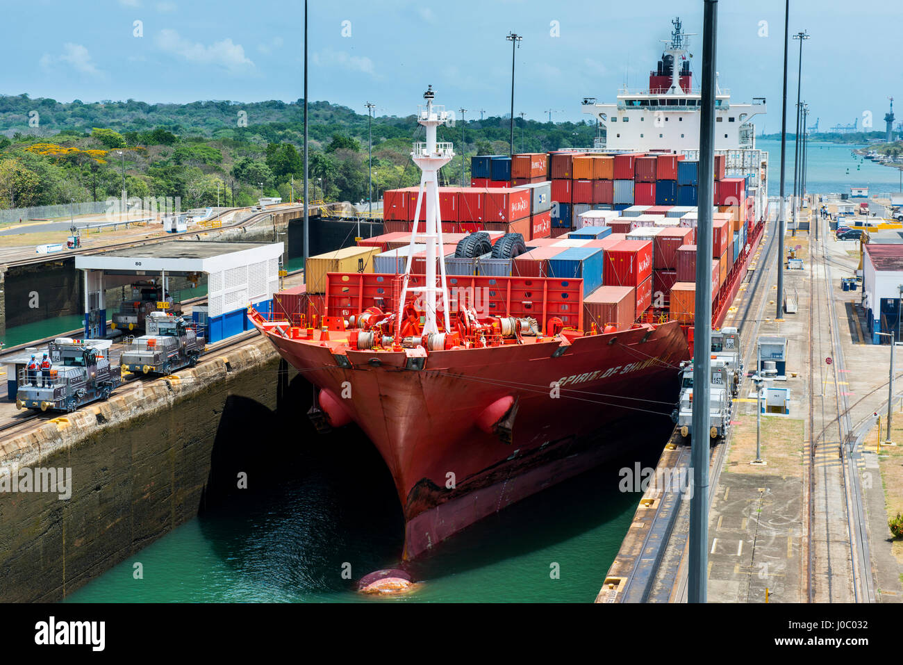 Cargo boats passing the Gatun Locks, Panama Canal, Panama, Central America - Stock Image