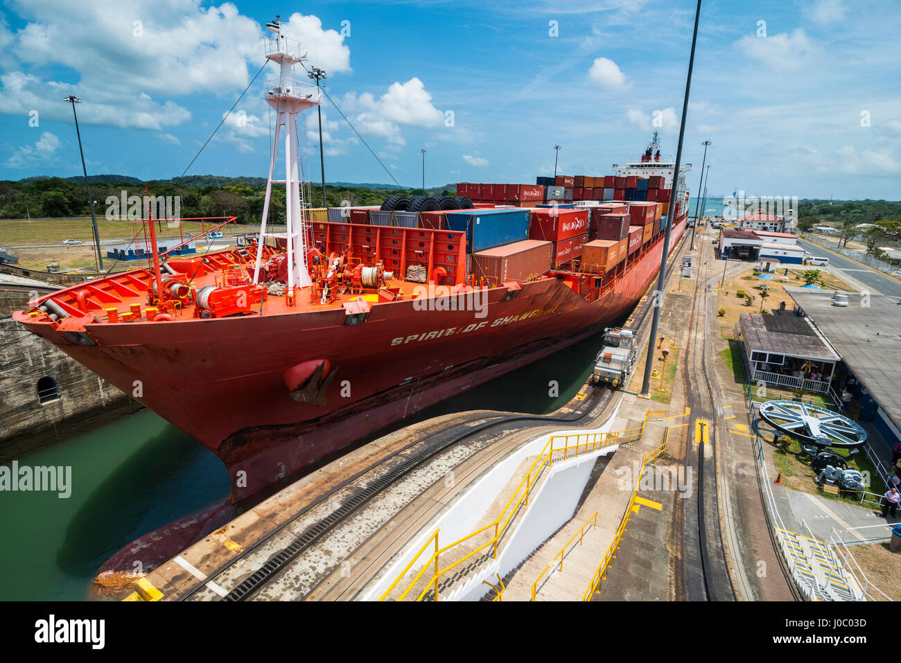 Cargo boats passing the Gatun Locks, Panama Canal. Panama, Central America - Stock Image