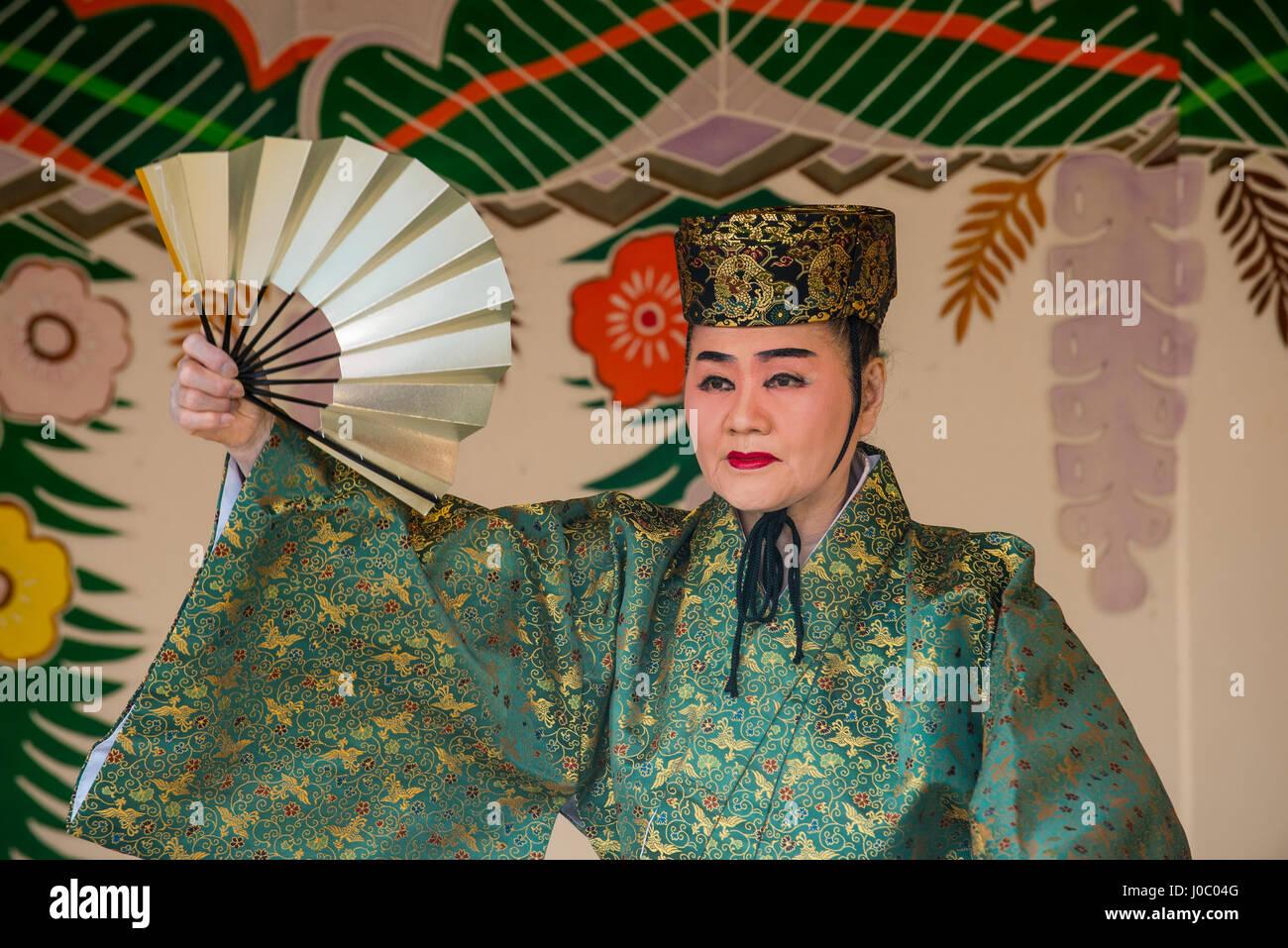 Traditional dressed dancer, Shuri Castle, UNESCO World Heritage Site, Naha, Okinawa, Japan, Asia - Stock Image
