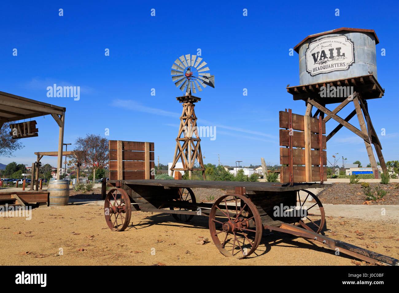 Windmill, Vail Headquarters Heritage Park, Temecula, California, USA - Stock Image