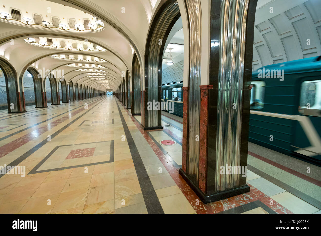 Interior of a Moscow Subway Station, Moscow, Russia - Stock Image