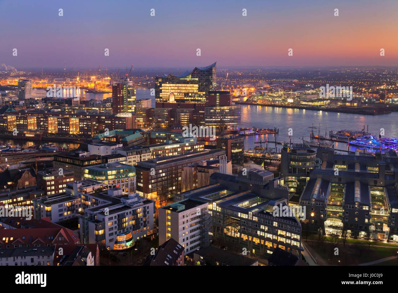 View over HafenCity and Elbphilharmonie at sunset, Hamburg, Hanseatic City, Germany - Stock Image