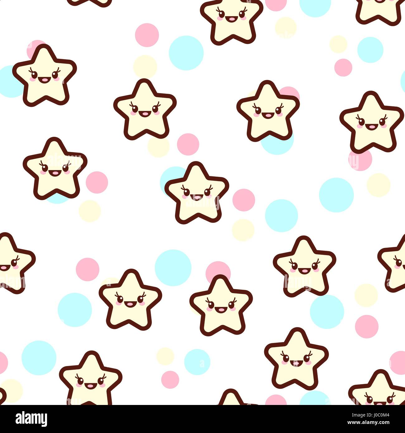 Vector illustration of the cute stars with the funny faces seamless pattern. Trendy Kawaii emoticons for print on - Stock Vector