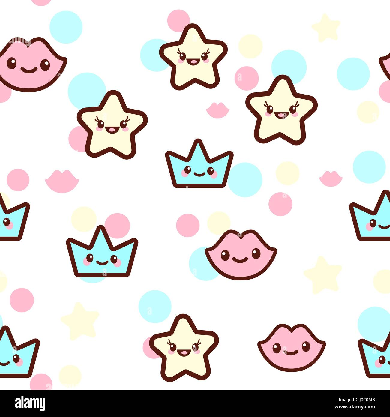 Vector illustration of the stars, lips and crowns with the funny faces seamless pattern. Trendy Kawaii emoticons - Stock Vector