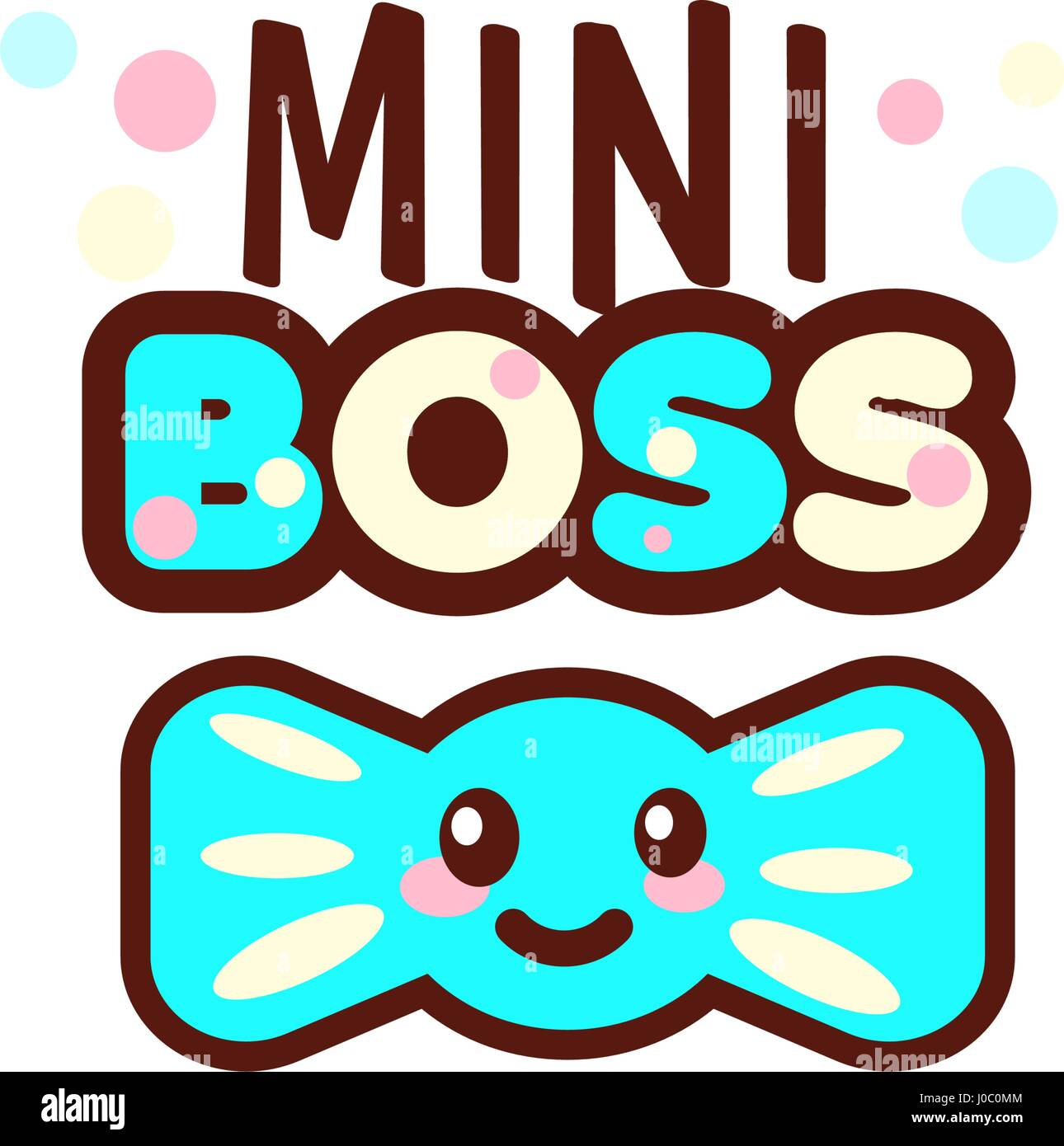 The Vector Illustration Of Blue Ribbon And Mini Boss Text With Stylish Kawaii Emoji Style Boys Gift Emoticons For Print On T Shirt