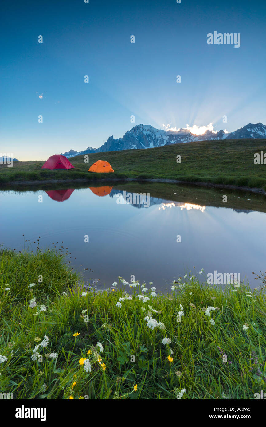 Camping tents in the green meadows surrounded by flowers and alpine lake, Mont De La Saxe, Courmayeur, Aosta Valley, - Stock Image
