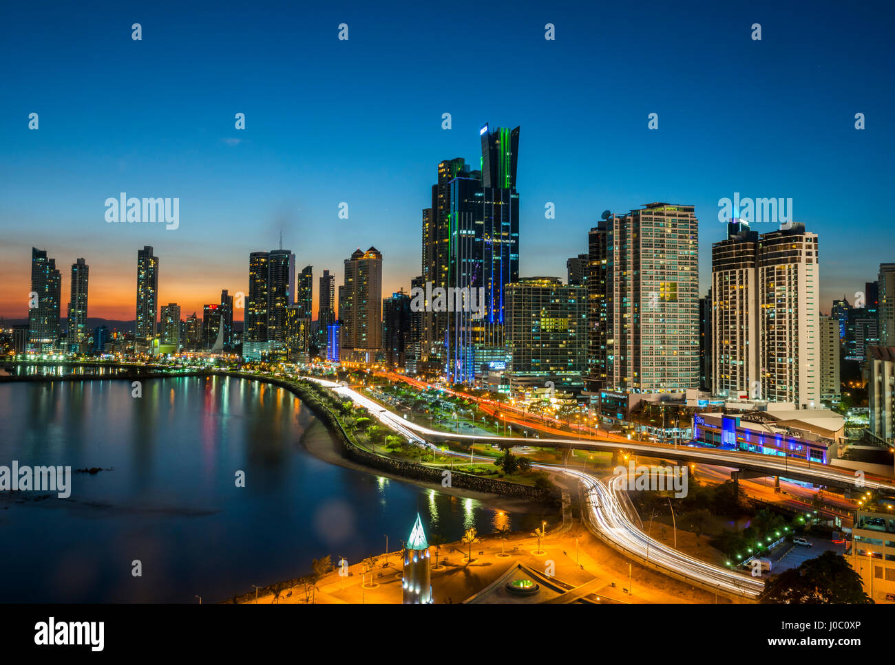 The skyline of Panama City at night, Panama City, Panama, Central America - Stock Image