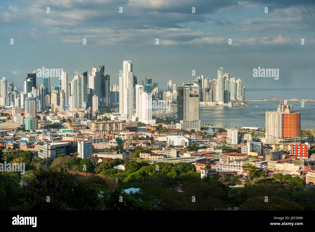 View over Panama City from El Ancon, Panama, Central America - Stock Image