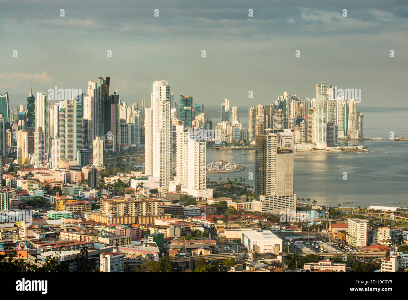 View over the skyline of Panama City from El Ancon, Panama, Central America - Stock Image