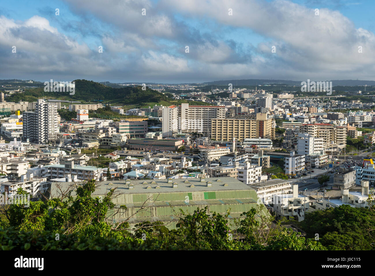 View over Naha from the Shikinaen Garden (Shikina-en Garden), UNESCO World Heritage Site, Naha, Okinawa, Japan, Stock Photo