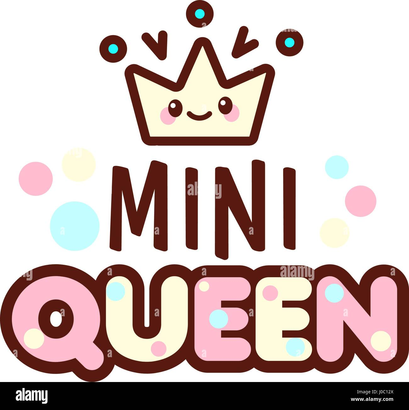 The vector illustration of crown and mini queen text with