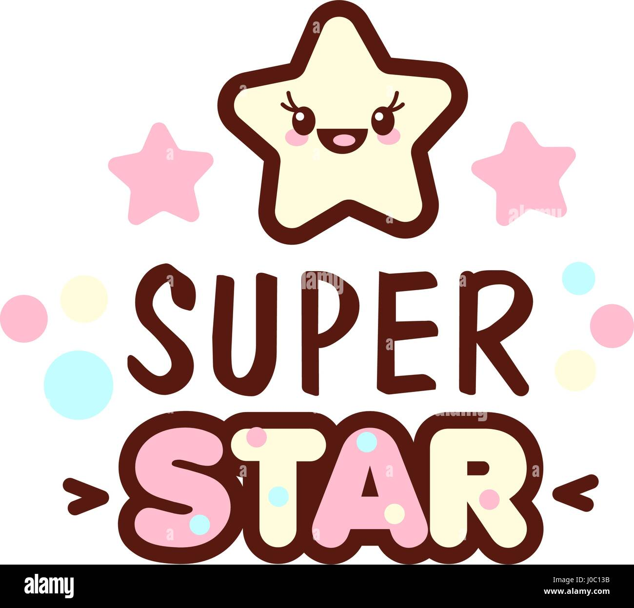 Cute little face and super star lettering illustration. illustration of isolated with phrase on white. Vector style - Stock Vector