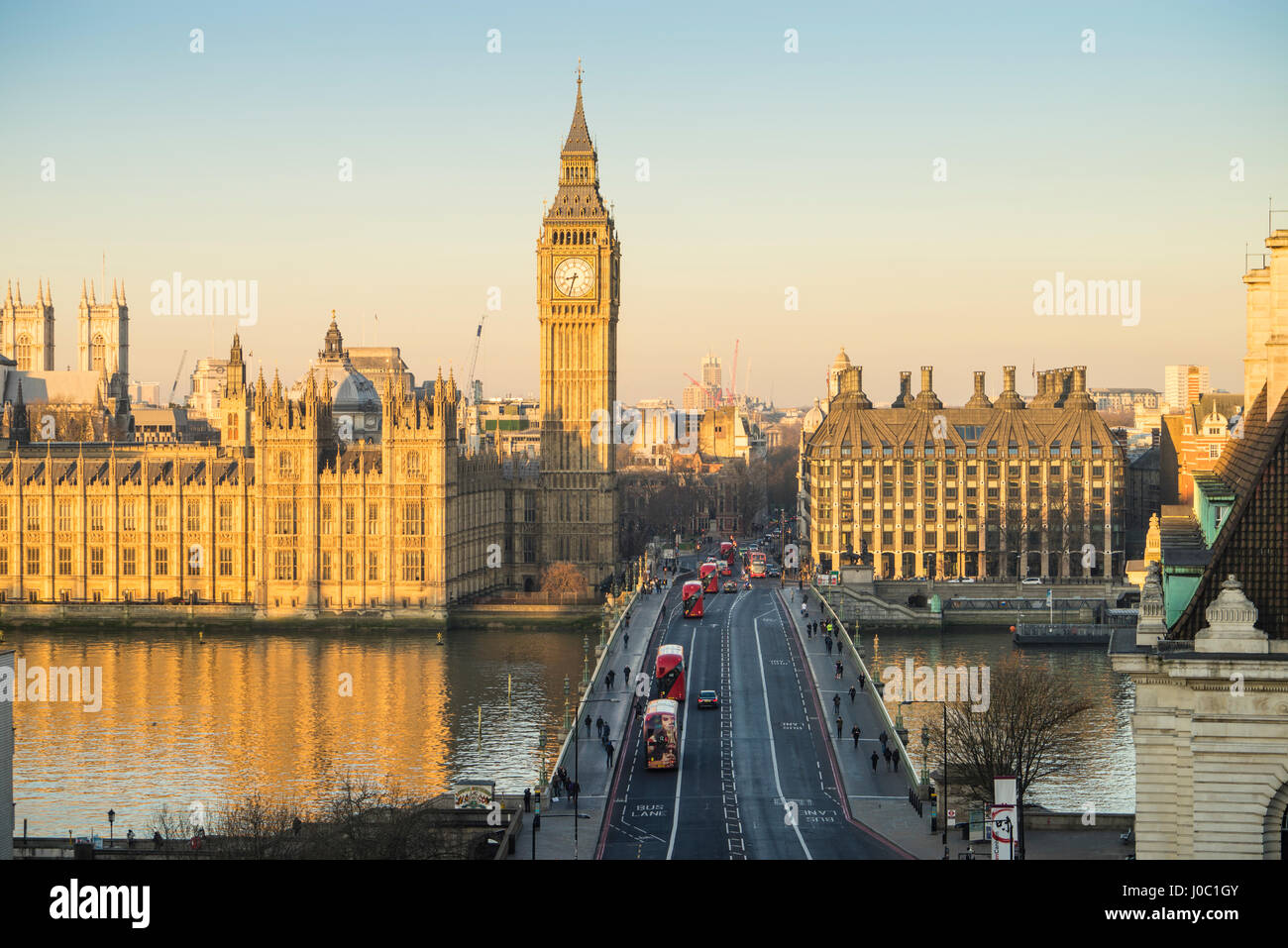High angle view of Big Ben, the Palace of Westminster, UNESCO World Heritage Site, and Westminster Bridge, London, - Stock Image