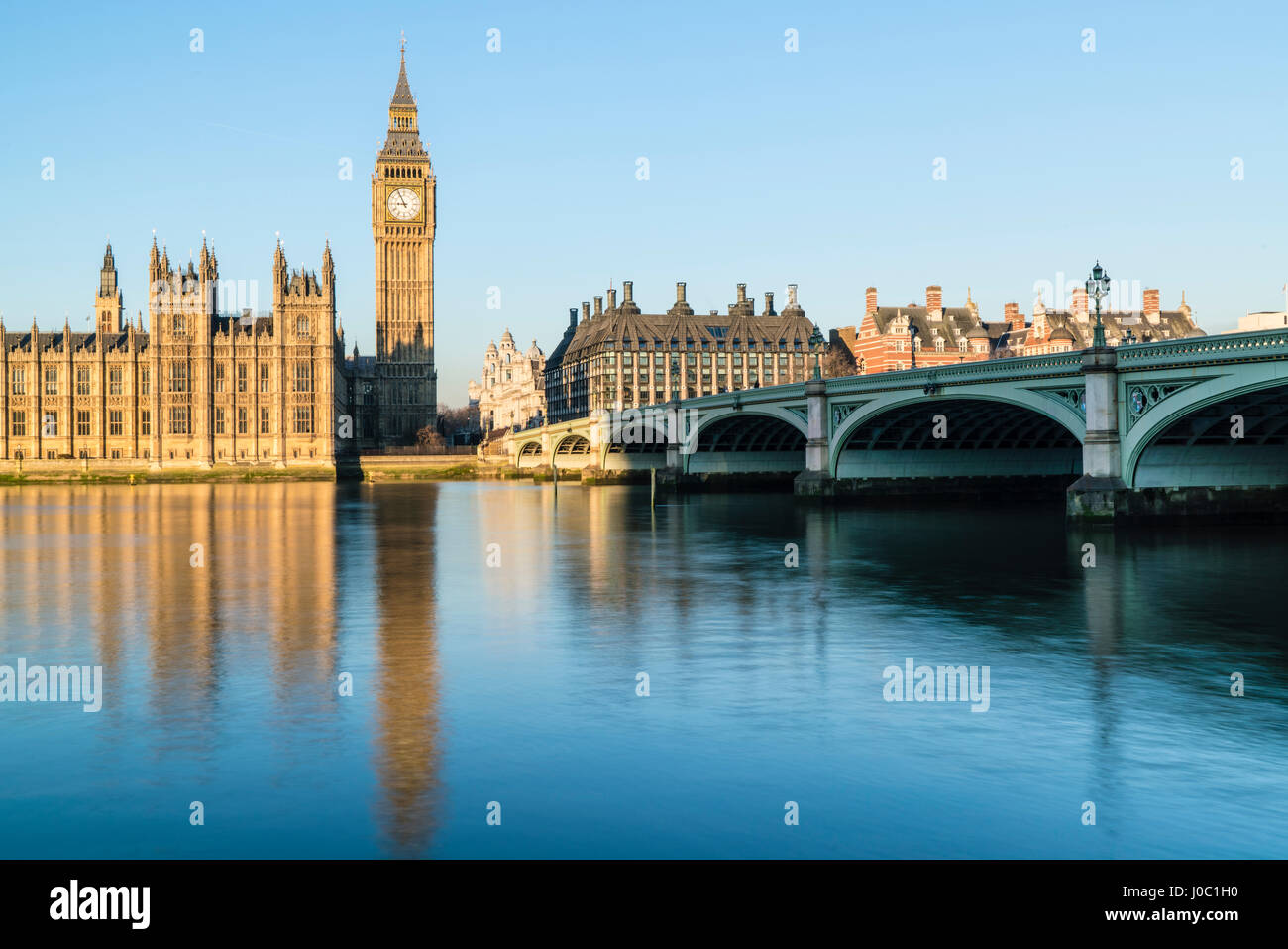 Big Ben, the Palace of Westminster, UNESCO World Heritage Site, and Westminster Bridge, London, England, UK - Stock Image