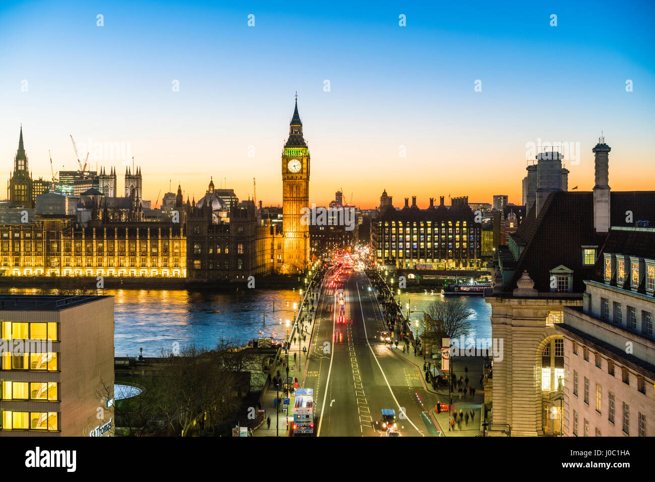 High angle view of Big Ben, the Palace of Westminster and Westminster Bridge at dusk, London, England, UK - Stock Image