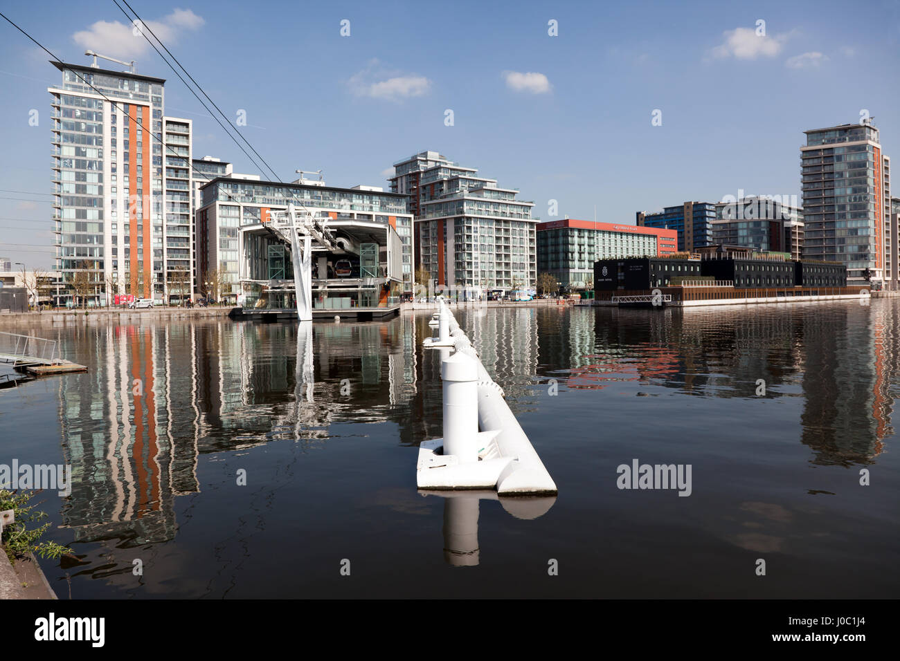 Emirates Airline Cable Car Terminus in the Royal Victoria Docks, Newham, East London - Stock Image