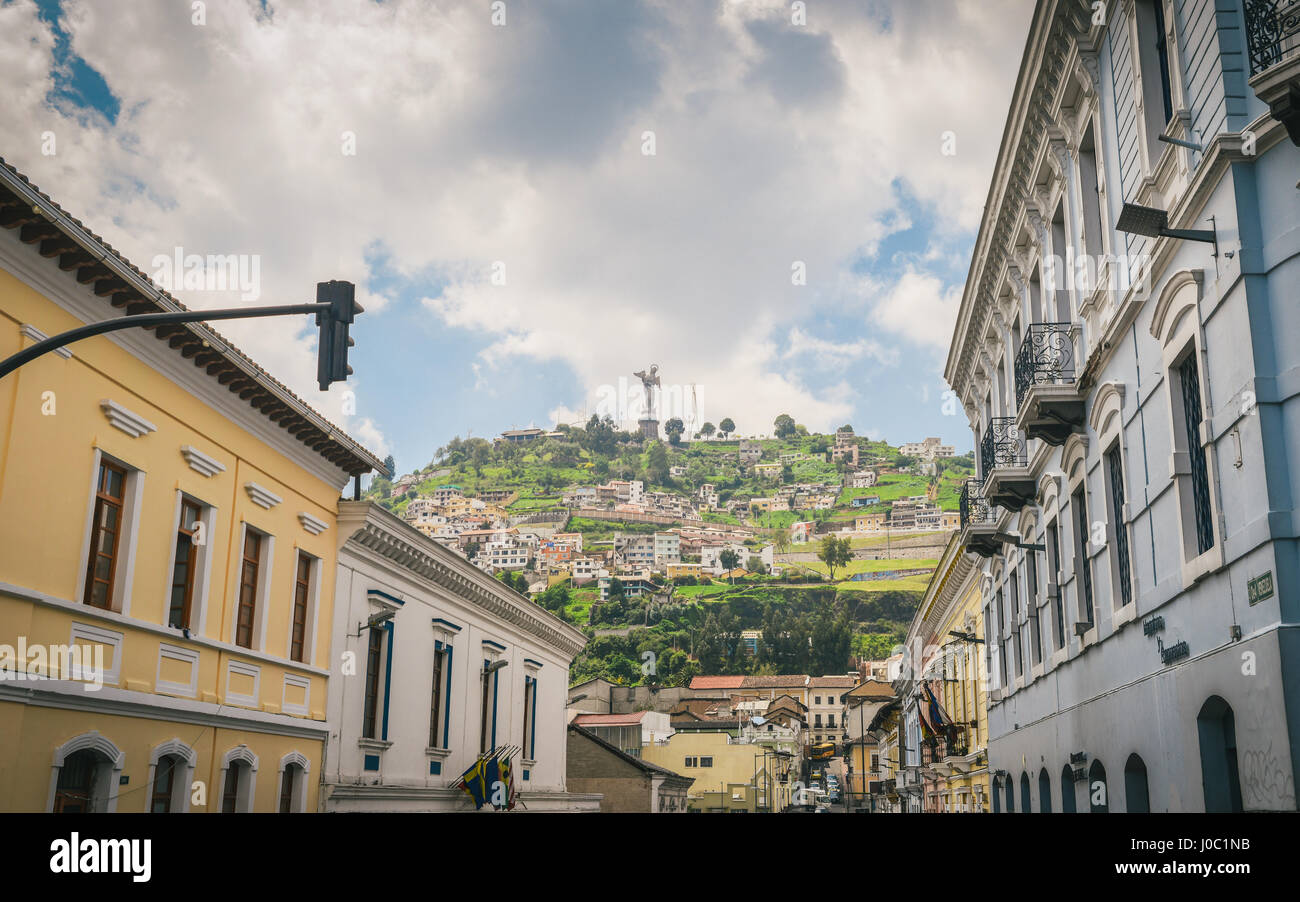 Cityscape with the Panecillo in the background, Quito, Ecuador - Stock Image
