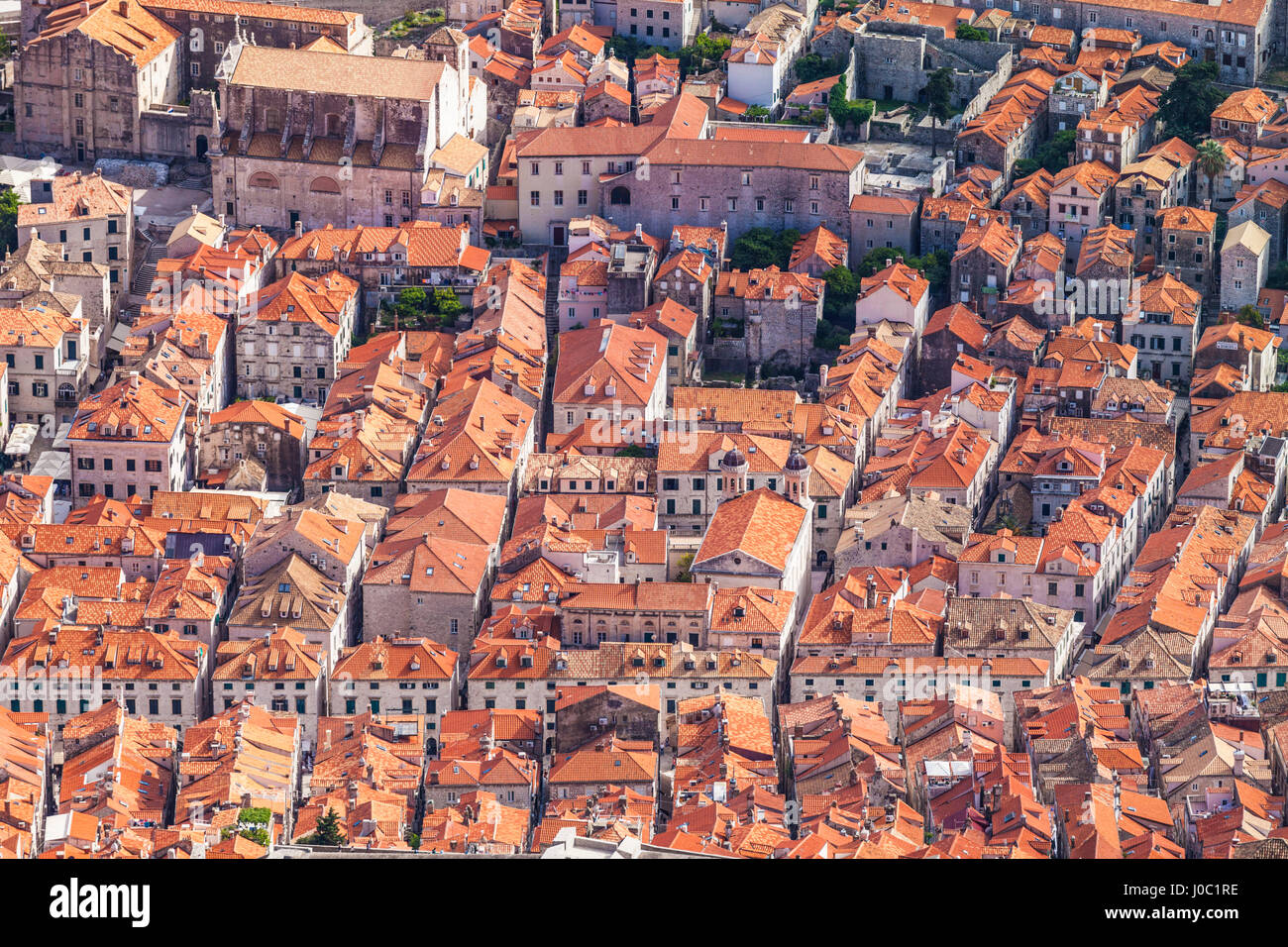 Aerial rooftop view of Dubrovnik Old Town, UNESCO World Heritage Site, Dubrovnik, Dalmatian Coast, Croatia - Stock Image