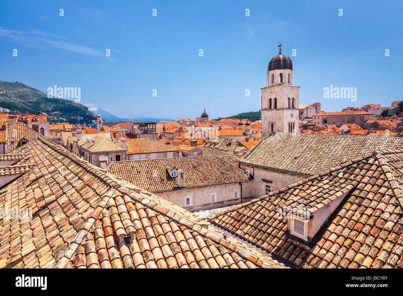 Rooftop view of Franciscan Church, bell tower and Monastery, Dubrovnik Old Town, UNESCO World Heritage Site, Dubrovnik, - Stock Image