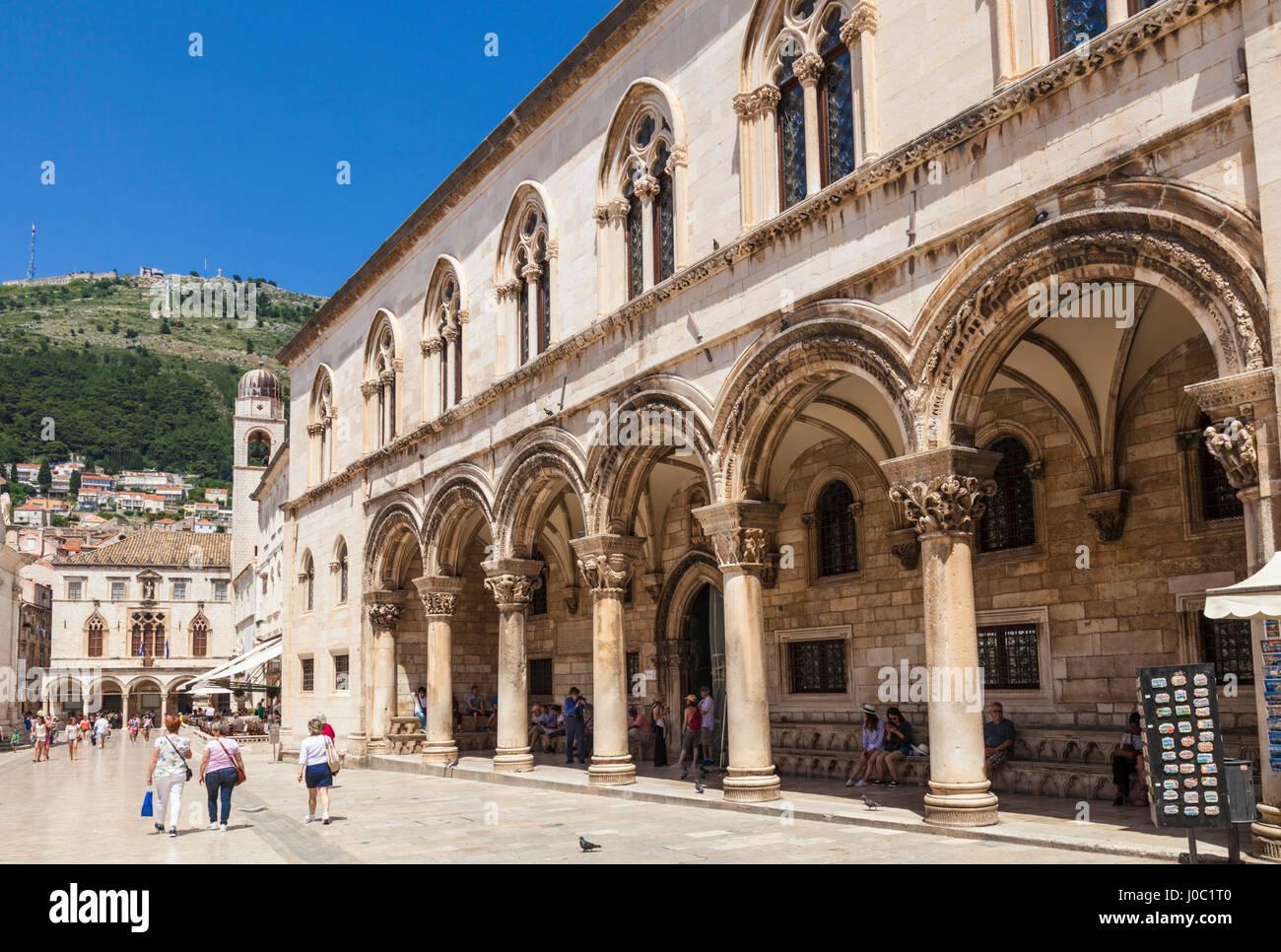 Rectors Palace and Cultural History Museum street view, Dubrovnik Old Town, Dubrovnik, Dalmatian Coast, Croatia - Stock Image