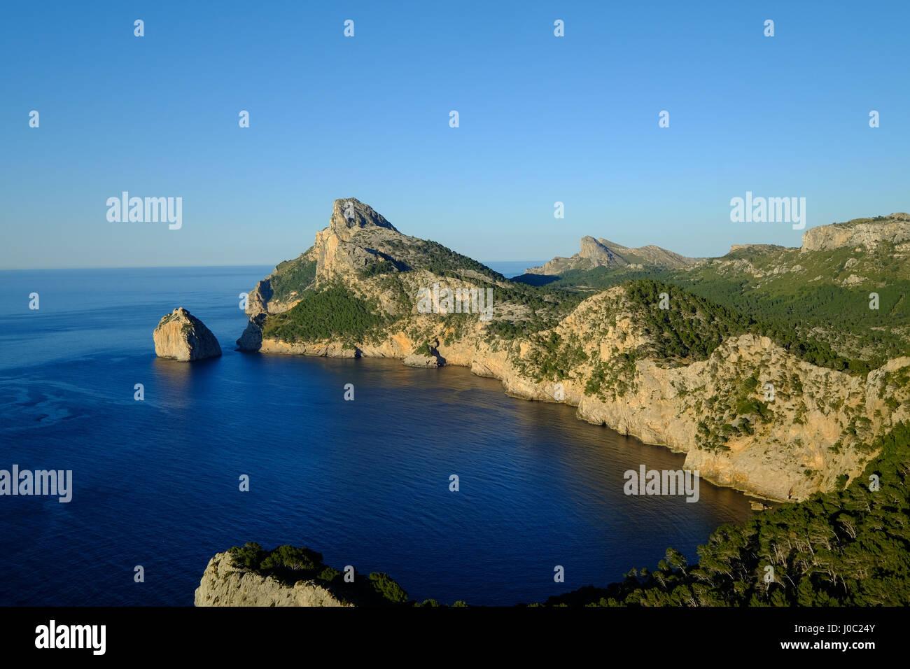 Punta Nau seen from el Mirador Es Colomer in the Formentor Peninsula, Majorca, Balearic Islands, Spain, Mediterranean - Stock Image