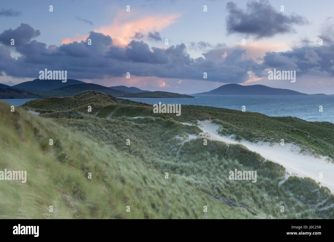 A view across the Sound of Taransay from the dunes at Luskentyre, Isle of Harris, Outer Hebrides, Scotland, UK - Stock Image