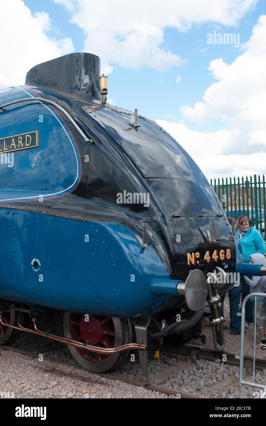The front of the Mallard steam train - Stock Image