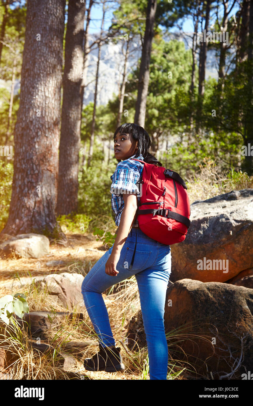 Young woman, hiking, Cape Town, South Africa - Stock Image
