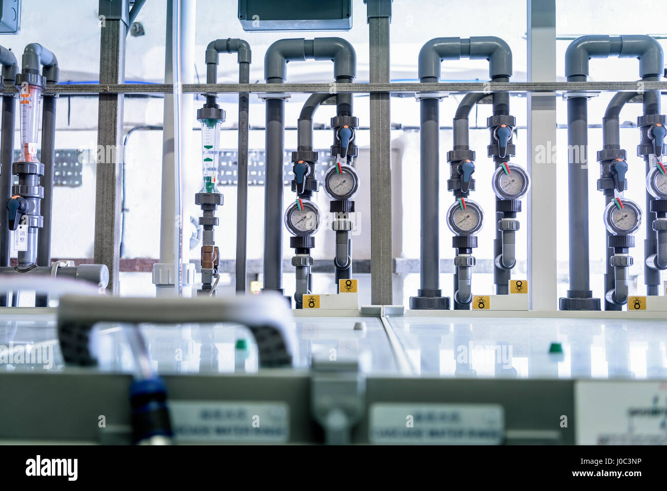 Circuit board processing machine in electronics factory - Stock Image