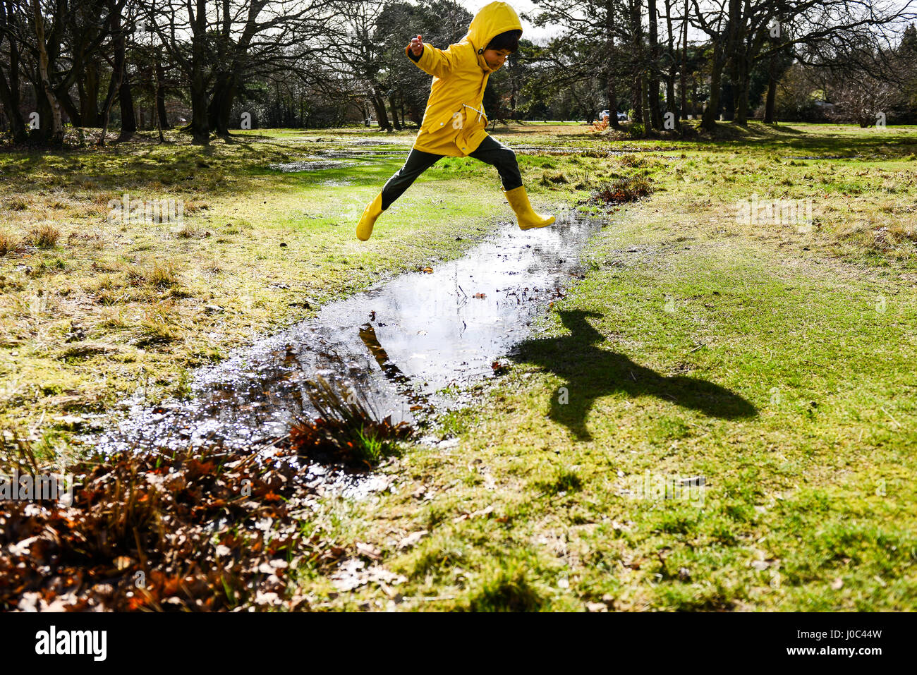 Boy in yellow anorak jumping over puddle in park - Stock Image
