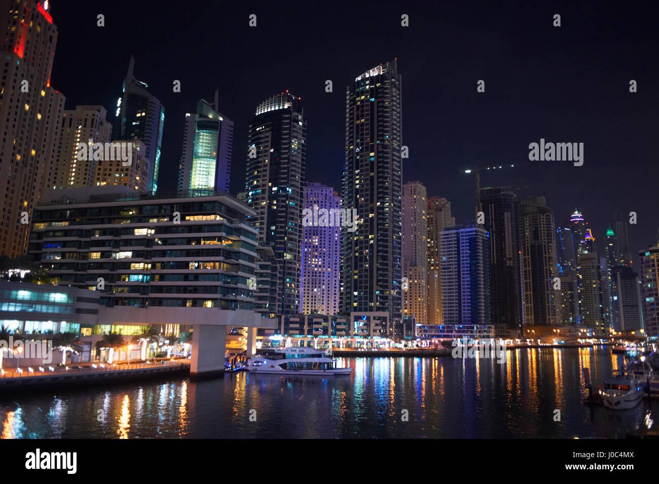 Cityscape at night of Dubai Marina, Dubai, UAE - Stock Image