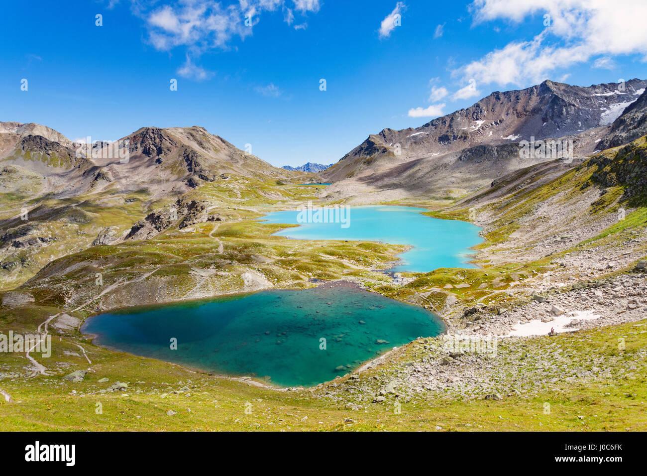 Mountain range, Davos, Graubünden, Switzerland - Stock Image