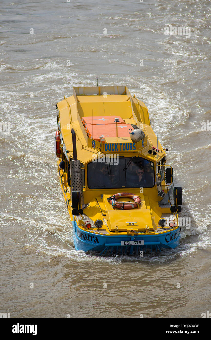 Amphibious duck vehicles on the river Thames, central London. Credit: Malcolm Park - Stock Image