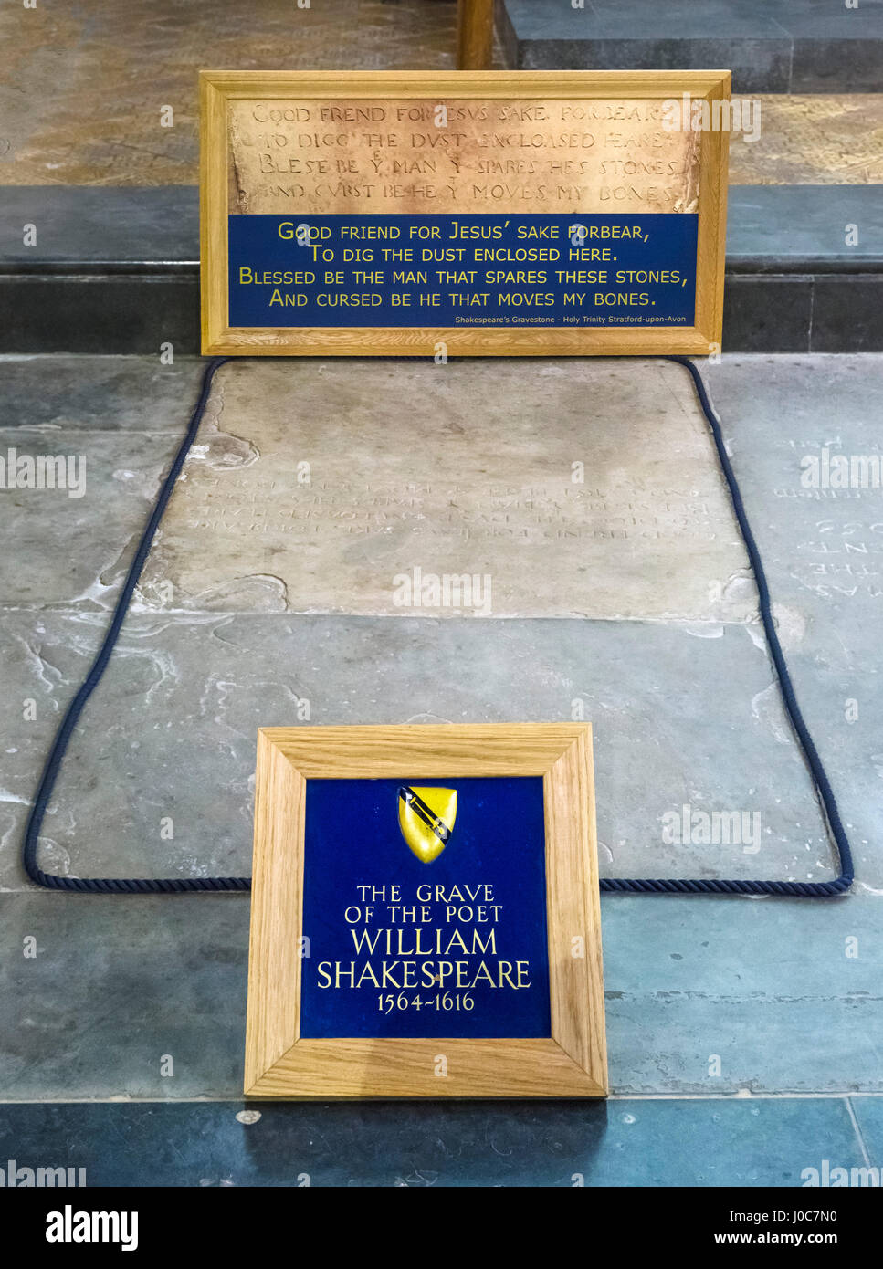 William Shakespeare's Grave. The grave of William Shakespeare in Holy Trinity Church, Stratford-upon-Avon, England, - Stock Image