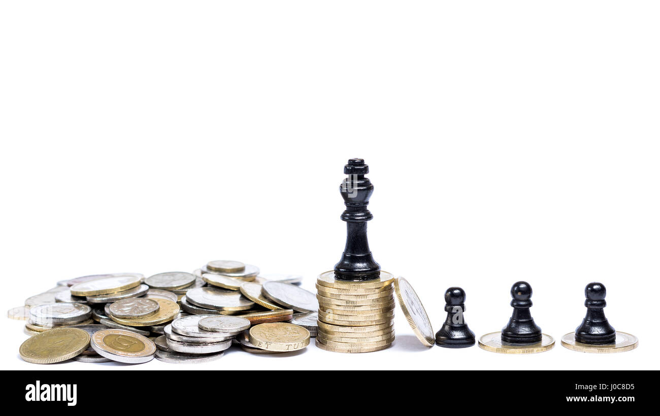 Board game pieces in front of white background - Concept of taxation - Stock Image