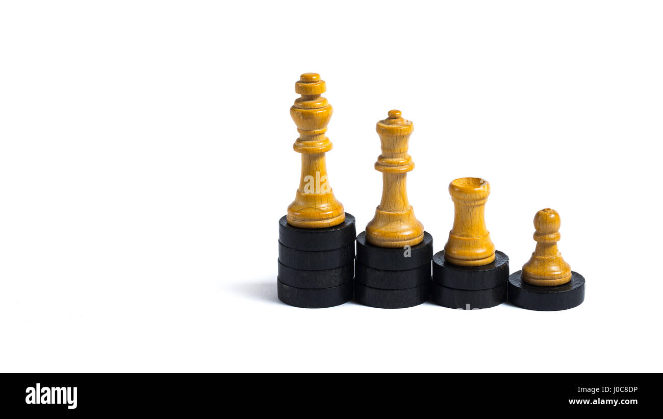 Chess figures on little wooden chips - Concept of progression - Stock Image