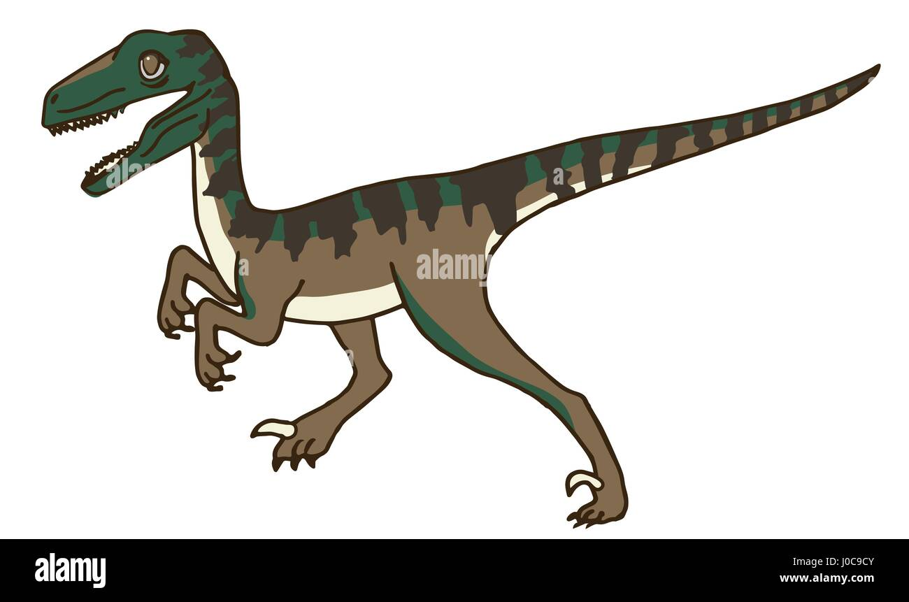 Cute Velociraptor or Raptor Dinosaur Stalking Prey, or maybe Running, Walking, or Standing. - Stock Image