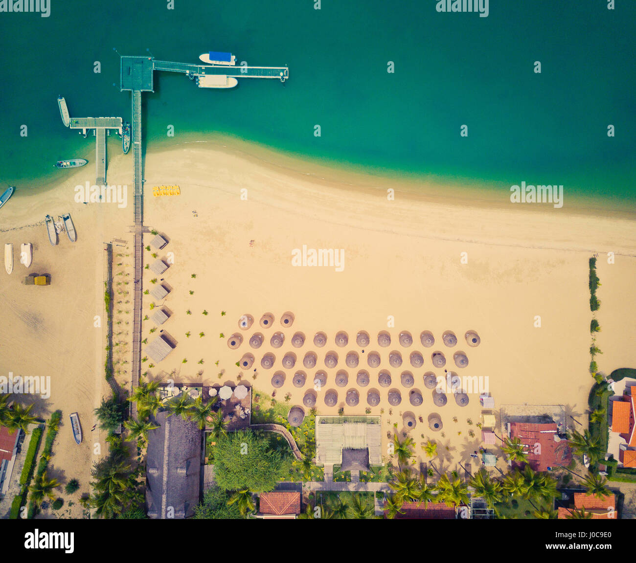 Aerial view of a resort on Mussulo in Angola's capital city of Luanda. - Stock Image
