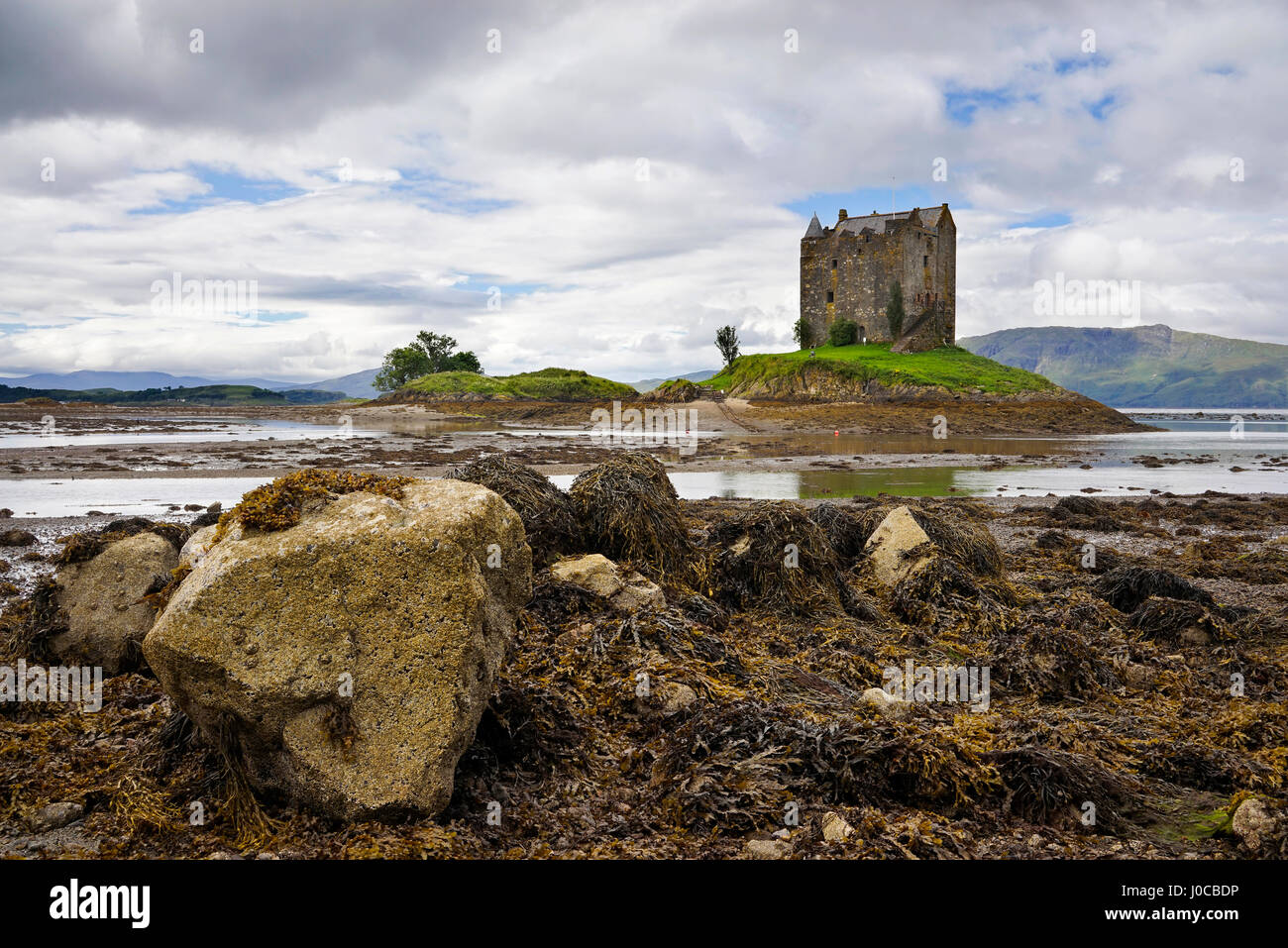 Castle Stalker (Castle Aaargh from Monty Python and the Holy Grail), near Port Appin, Argyll, Scottish west coast, - Stock Image