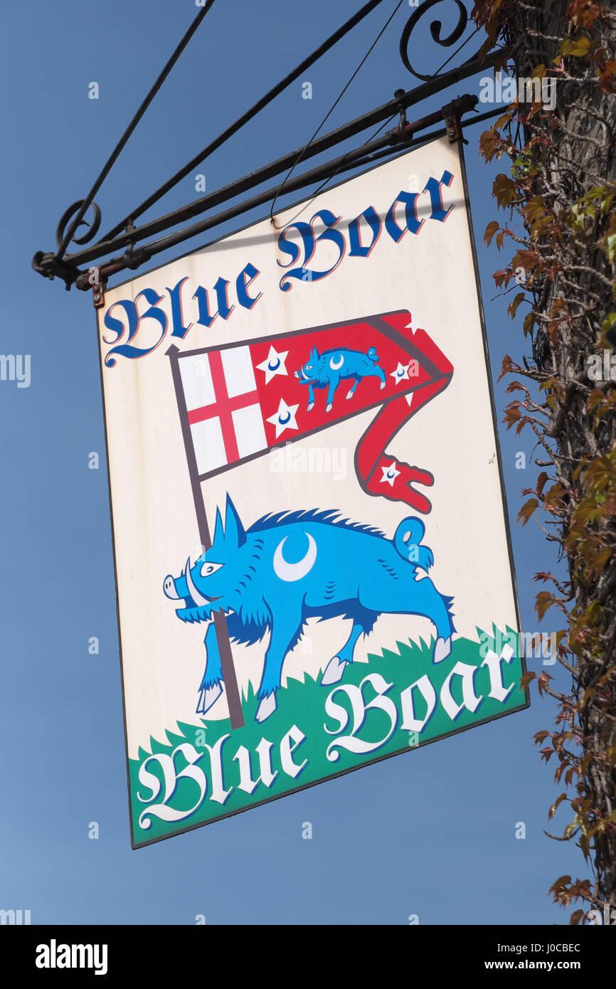 Hay on Wye Powys Wales - The Blue Boar pub inn sign - Stock Image