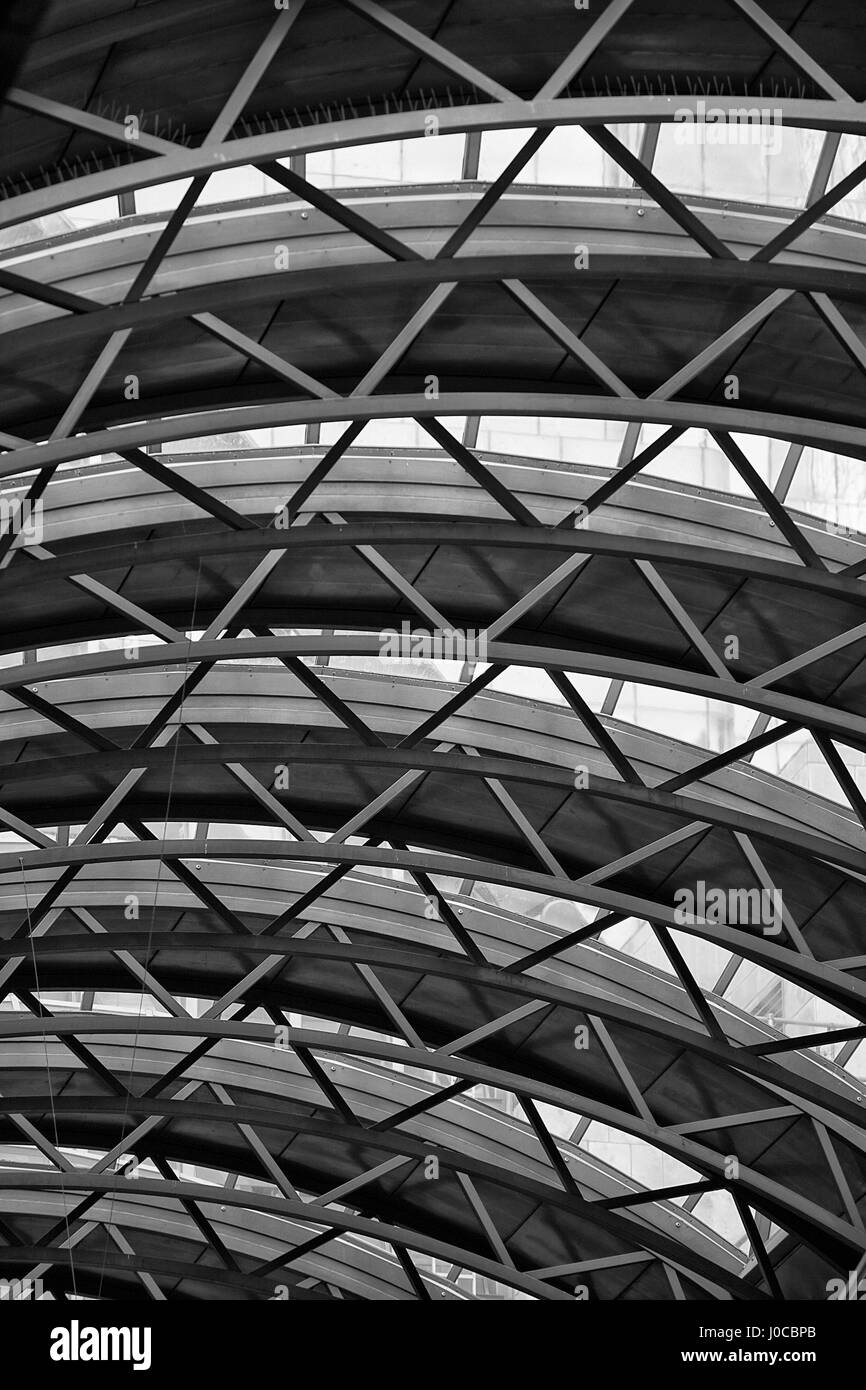 Docklands Light Railway DLR roof at Canary Wharf - Stock Image