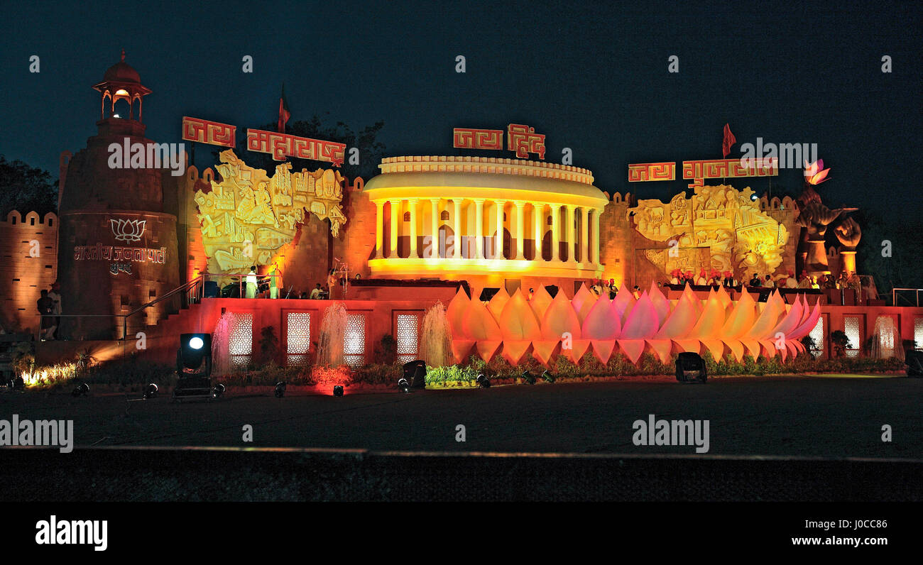 Huge stage setup for public conference mumbai, maharashtra, india, asia - Stock Image