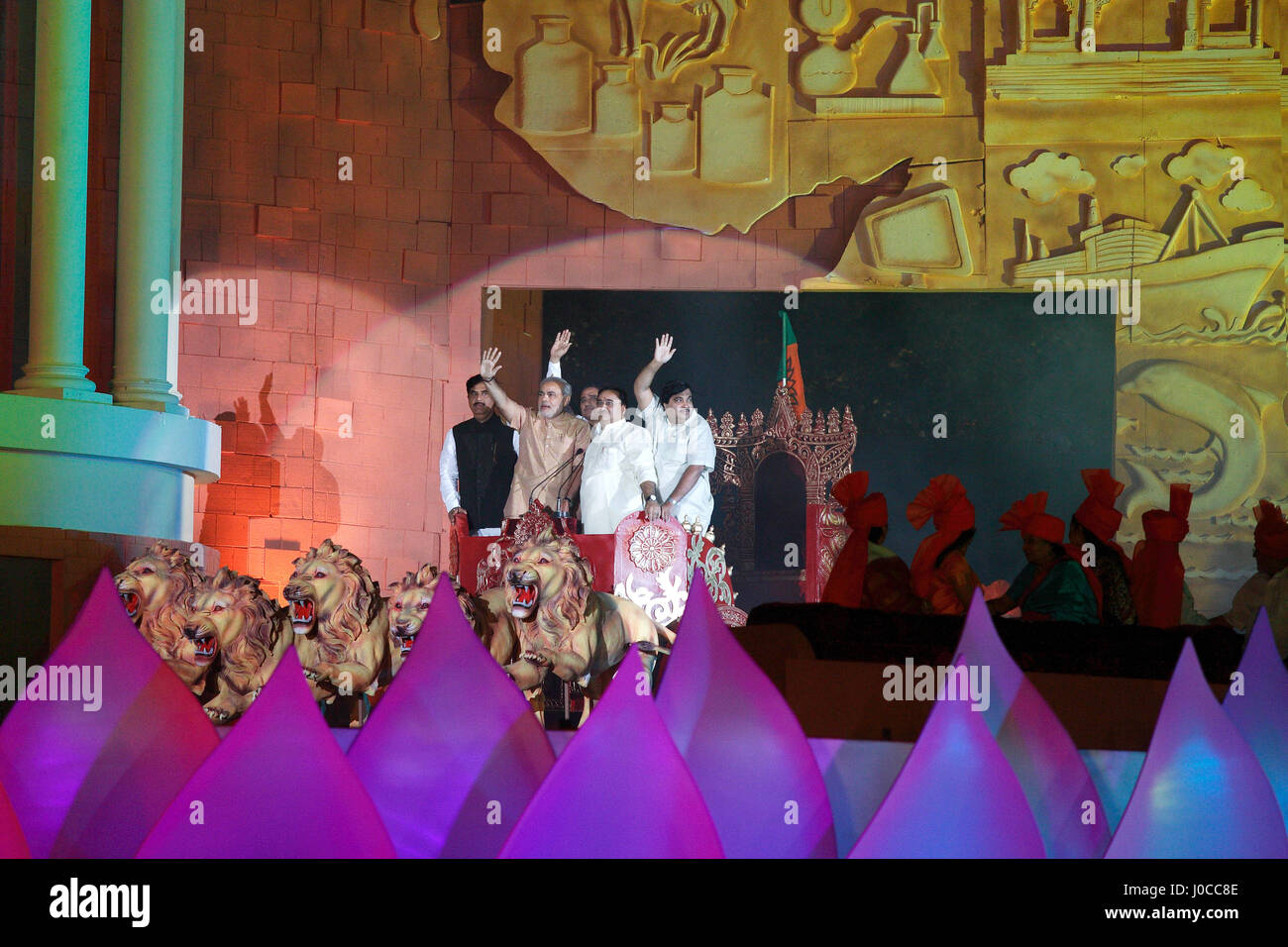 Bjp leaders and members on stage, mumbai, maharashtra, india - Stock Image