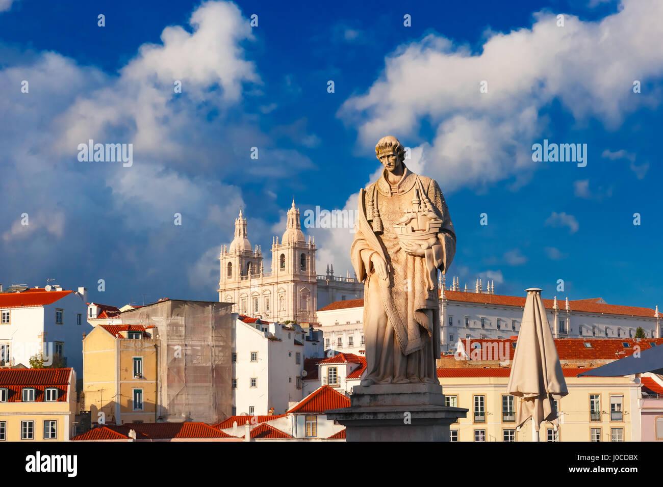 Statue of Saint Vincent, the patron saint of Lisbon - Stock Image