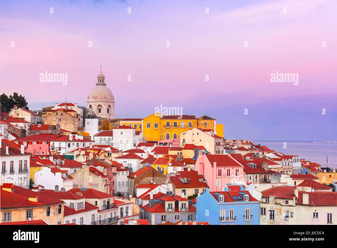 Alfama at scenic sunset, Lisbon, Portugal - Stock Image
