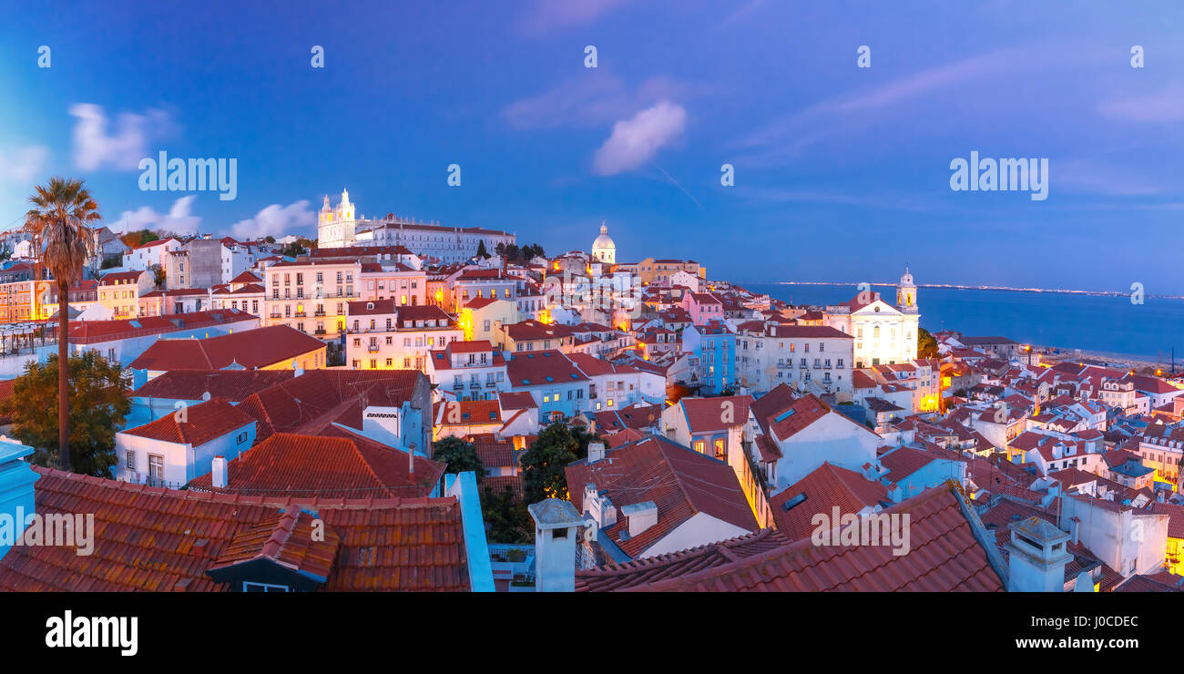 Alfama at night, Lisbon, Portugal - Stock Image
