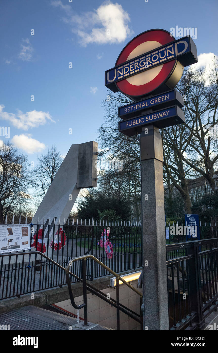 Bethnal Green Underground tube station with the memorial to the victims of the Bethnal Green Tube Disater, March - Stock Image