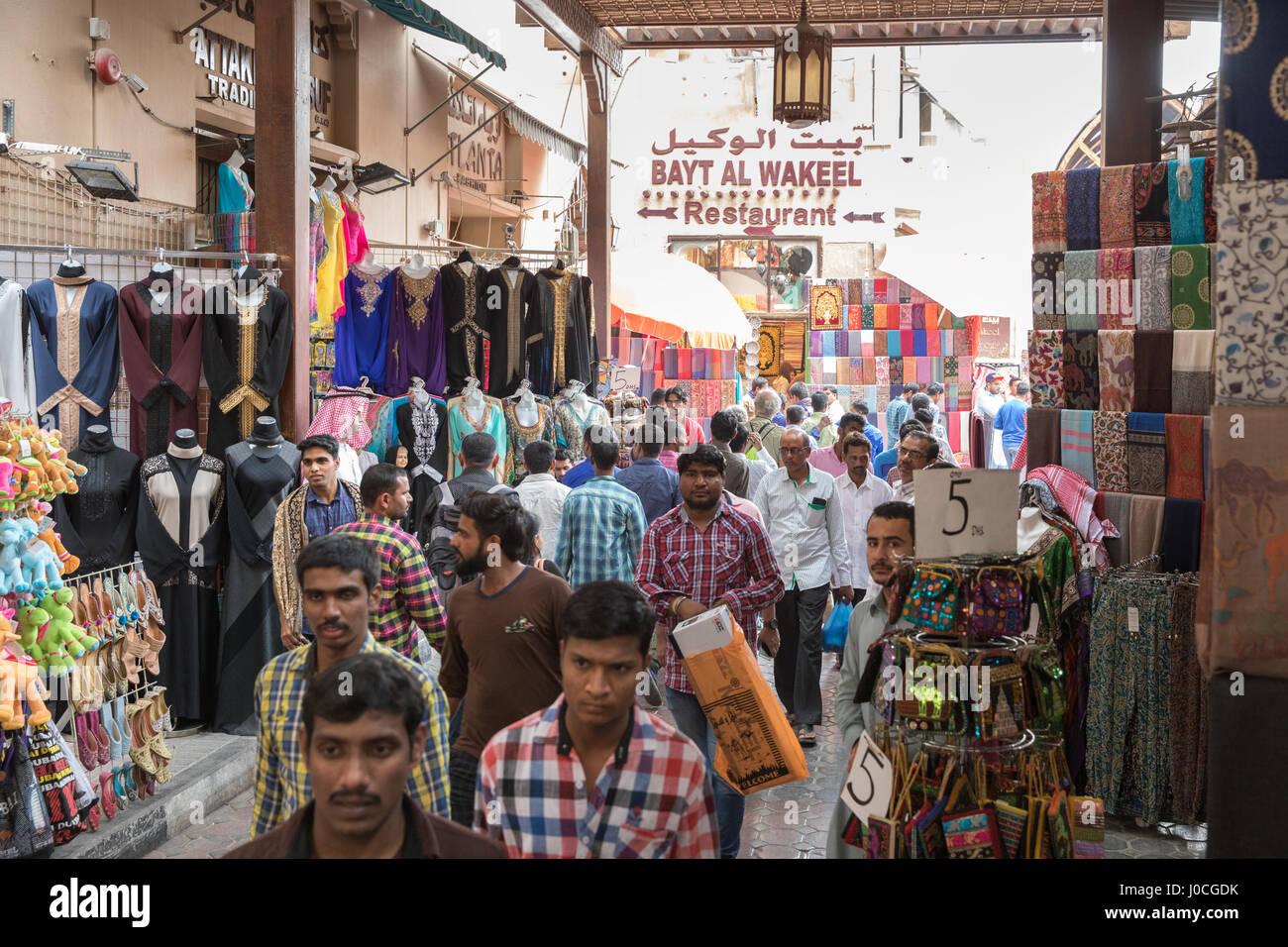 The textile souk (also known as the old souk) in Bur Dubai, Dubai, UAE - Stock Image